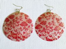 Large red flower shell earrings